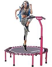 Gielmiy fitness trambolini 48 inç sessiz Mini Fitness Trambolini Ayarlanabilir Gidon Fitness Trambolini Bungee Rebounder Zıplama, Yetişkinler İç/Dış Mekan Egzersizleri için trambolin - Maksimum Limit 149 kg