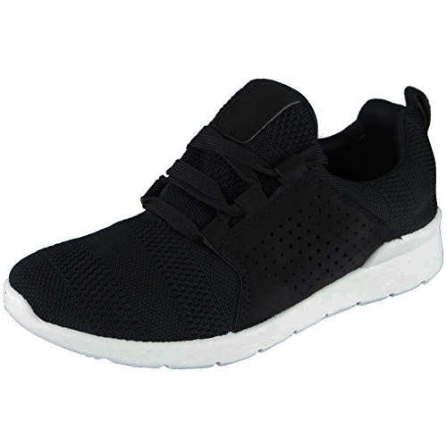 Ladies Running Trainers Womens Fitness Gym Light Sports Comfy Lace up Shoes Size 3-8 Black