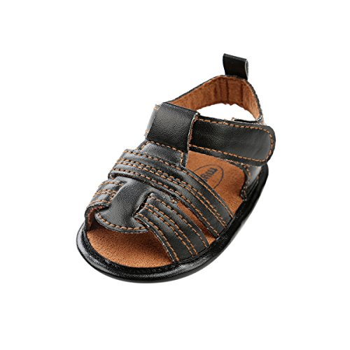 Kuner Infant Baby Boys Girls Pu Leather Rubber Sole Anti-Slip Summer Sandals First Walkers Shoes