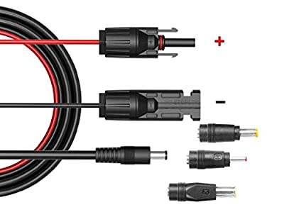 Solar Panel MC4 to DC Connector Extension Cable 16AWG 5ft with DC 5.5mmx2.1mm,DC 3.5x1.35mm,DC 5.5x2.5mm and DC8mm Adapter for Portable Backup Power Station Rechargeable Battery Pack Solar Generators