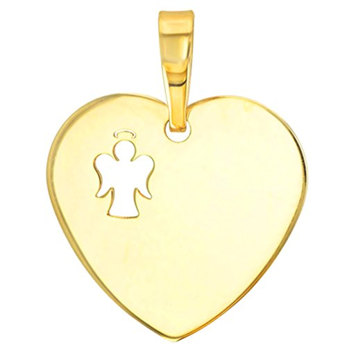 14K Yellow Gold Heart Charm with I Love My Angel Script Pendant Cuban Chain Necklace, 24'' by JewelryAmerica (Image #1)