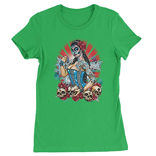 Expression Tees Womens Pinup Day of The Dead Skull Roses T-Shirt Medium Kelly Green -