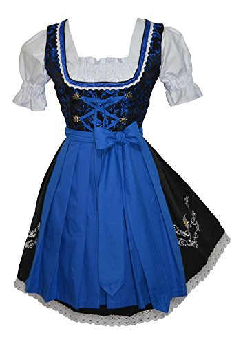 3-piece Short German Oktoberfest Dirndl Dress Black & Blue (12) by Edelweiss Creek
