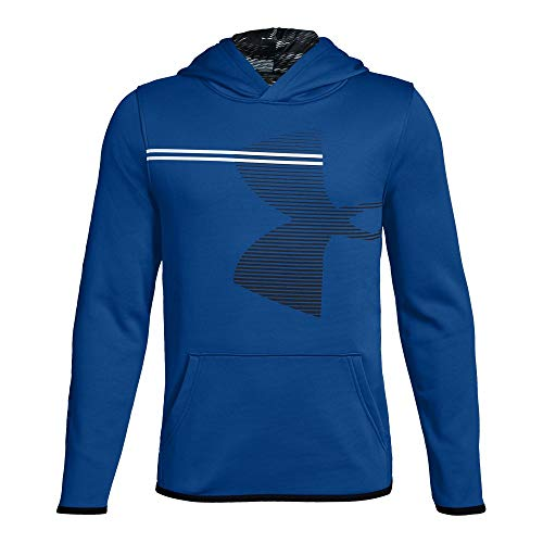 (Under Armour Boys' Armour Fleece Hoodie, Royal (401)/Black, Youth Large)
