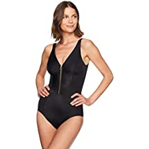 Coastal Blue Women's Control Swimwear Front Zipper One Piece Swimsuit