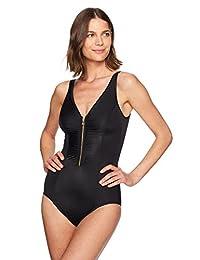 Coastal Blue Women's Control Swimwear Front Zipper One Piece Swimsuit
