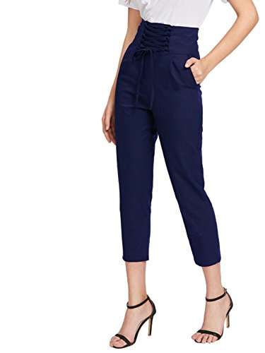 Pocket Trouser (MakeMeChic Women's Lace up High Waist Pocket Trousers Casual Pants Navy L)