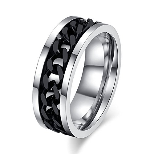 Topick Men's Fashion Black Stainless Steel Wide 8mm Spinner Chain-shaped Ring (7)