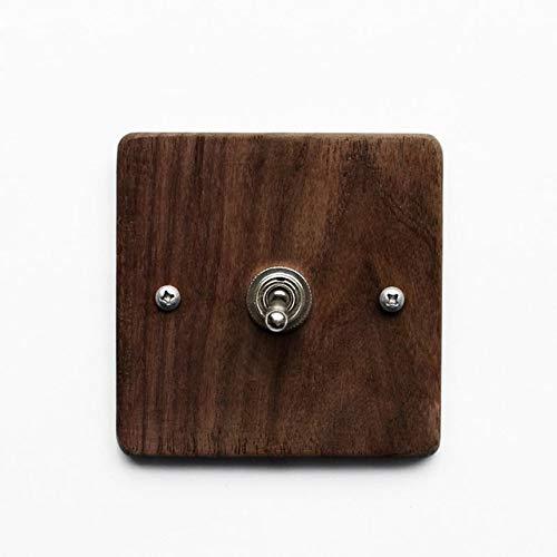 Black   110v250v EsooLi Maple Walnut Luxury Wall Light Switch Panel Hand Made Retro Switch 10A 110V250V Wood Panel Brass Lever 1 Gang  2 Gang  (color  blueee, Voltage  110v250v)