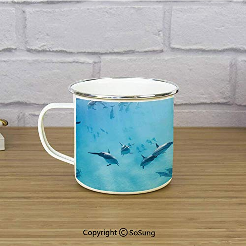 (Hawaiian Decorations Enamel Coffee Mug,Group of Dolphins in Hawaii Wildlife Underwater Animals Tropical Aquatic Nature Picture,11 oz Practical Cup for Kitchen, Campfire, Home,)