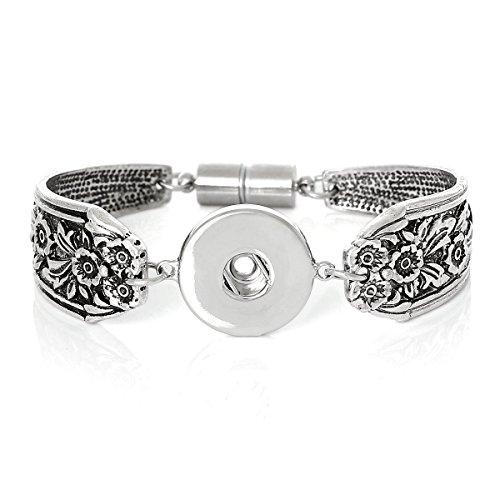 Snap Button Bracelet, Antiqued Silver Tone with Magnetic (Silver Alloy Link Magnetic Bracelet)