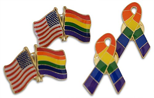 LGBT Couples' Gay Pride 4-Piece Lapel or Hat Pin & Tie Tack Set with Clutch Back by Novel Merk
