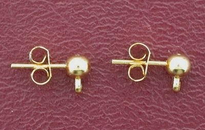 ONE PAIR 14KT GOLDFILLED POST 4mm BALL DROP EARSTUDS (Earstud Post)