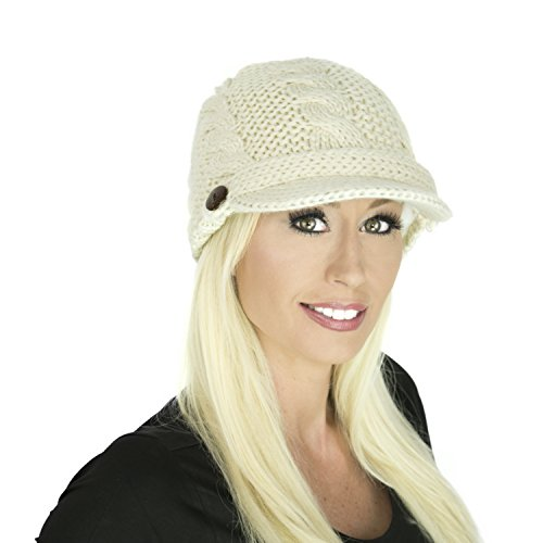White Cable Knit Hat with Visor, Fleece Lined Winter Warm Newsboy Style Beanie