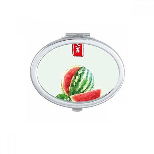 Circlar Great Heat Twenty Four Solar Term Oval Compact Makeup Mirror Portable Cute Hand Pocket Mirrors Gift by DIYthinker