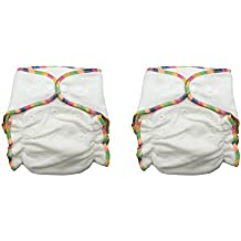 Heavy Wetter Bamboo / Organic Cotton One Size Fitted Diapers with 2 Inserts (Fits 7-25lbs) (2 Pack)