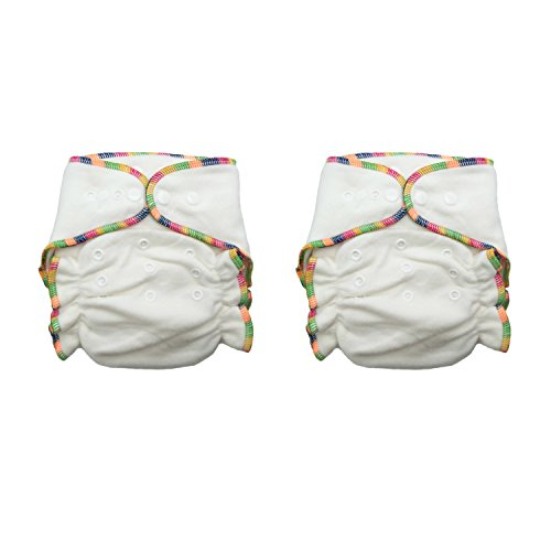 - Heavy Wetter Bamboo / Organic Cotton One Size Fitted Diapers with 2 Inserts (Fits 7-25lbs) (2 Pack)