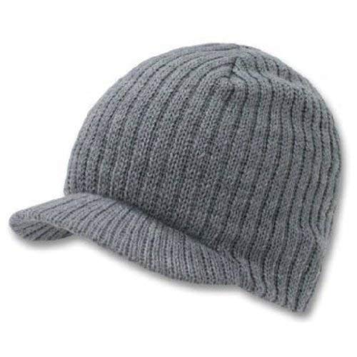 - Decky Knit Visor Beanie Campus Jeep Cap (One Size, Grey)