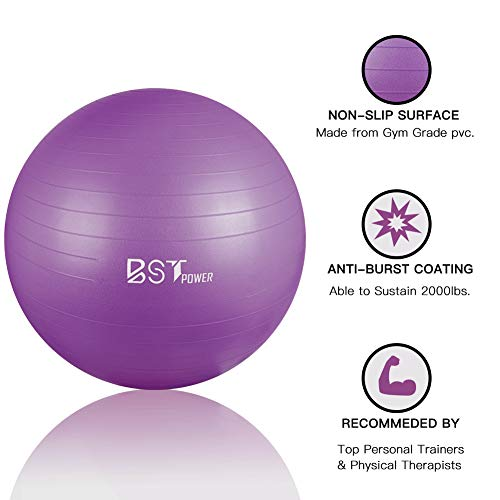 BST POWER Exercise Ball, 45-85cm Extra Thick Yoga Ball Chair, Anti-Burst Heavy Duty Gym Ball Stability Ball Birthing Ball with Quick Pump (Purple, 65 cm)