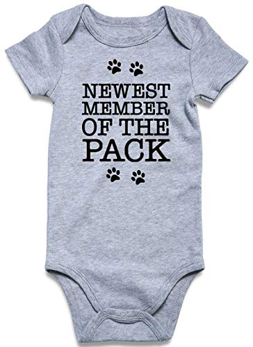 (Newborn Rompers Newest Member of The Pack Onesie Boys Letter Jumpsuit Girls Printed Playsuit Short Sleeves Funny Baby Body Suit Cotton Jumpsuit 9-12 Months)