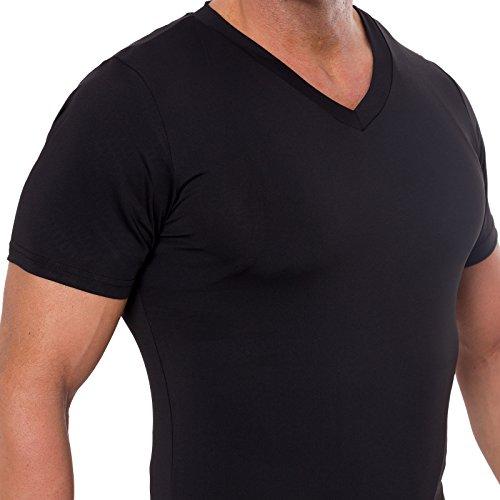 1924bc0aa2b33 Men s Slimming Light Compression V-Neck Shirt - Short Sleeve Body Shaper T- Shirt