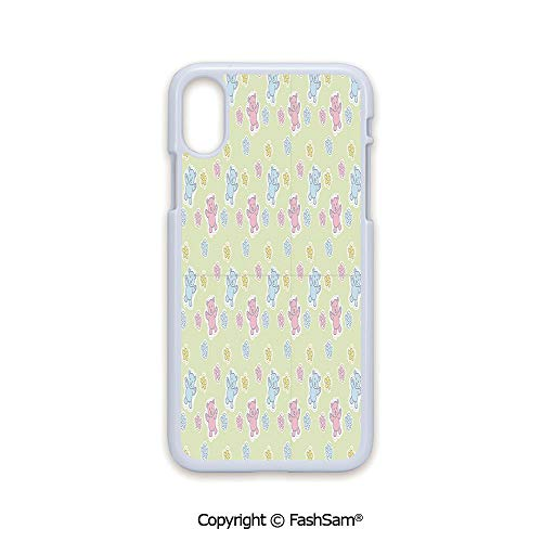 (Plastic Rigid Mobile Phone case Compatible with iPhone X Black Edge Baby Toy Drawing Pattern with Soft Colored Teddy Bears and Wildflowers Decorative 2D Print Hard Plastic Phone Case)