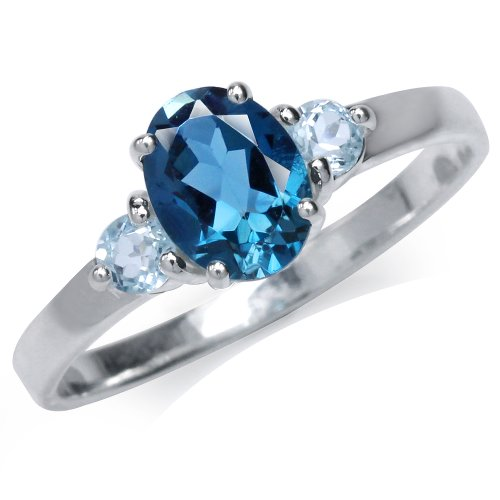 1.36ct. Genuine London Blue Topaz 925 Sterling Silver Engagement Ring Size 7 (Genuine Engagement Ring Topaz)