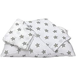Bacati Stars Muslin 3 Piece Toddler Bedding Sheet Set, Grey