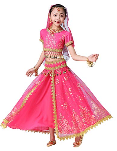 ORIDOOR Belly Dancing Costume Pleated Dress Set for Girls Kids Halloween Indian Performence Suits 5-Piece Outfit Medium Rose ()