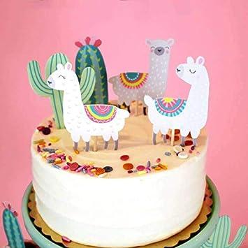 Alpaka Kaktus Die Wuste Kinder Oarty Kuchendekoration Cake Toppers