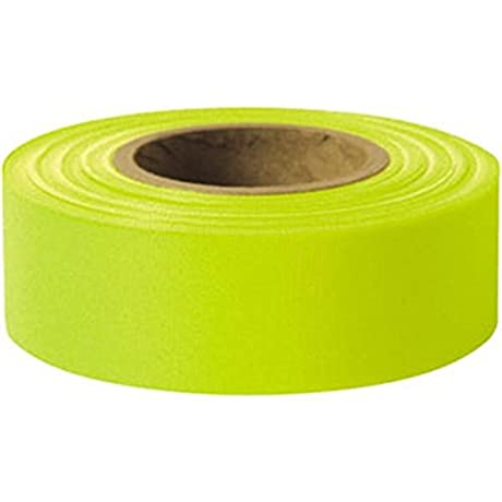 Presco Solid Color Roll Flagging PresGlo Taffeta 1 3 16 X 150 Lime Glo 18 Pack