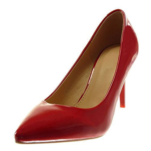 Angkorly Damen Schuhe Pumpe - Stiletto - Dekollete - Schick - Patent Stiletto High Heel 8 cm Rot