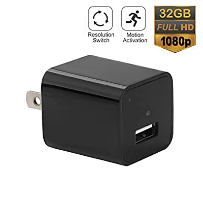 Hidden Spy Cameras Charger Adapter, AREBI 1080P HD USB Wall Charger Nanny Camera with Adjustable Resolution, Motion Detection and 32G Internal Memory - Latest Version from Arebi