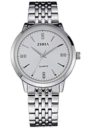ZHHA Men's 039 Luxury Quartz White Dial Silver Stainless Steel Bracelet Wrist Watch Waterproof