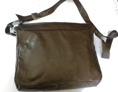 borsa tracolla in pelle cuoio L38xH36xP10 cm mod postina zip brown