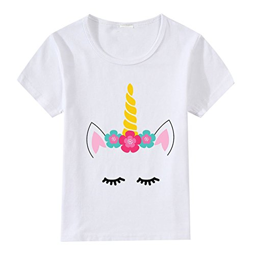 Baby Kids Boys Girls Unicorn Birthday Shirt Flower Unicorn Horn Face Outfit Toddler Cartoon Funny Print T-Shirt Summer Casual Short Sleeve Tee Top Blouse for Little Big Brothers & Sisters -