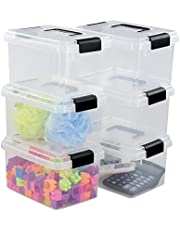 Fiaze 6-Pack Small Clear Plastic Storage Boxes, 5 L