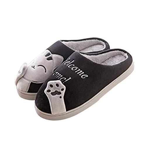 Chaud Femmes Pantoufles Chat Mignon Antidérapant Noir Slippers Hommes Maison GladiolusA Chaussons Chaussures Souple qHOwAnxn