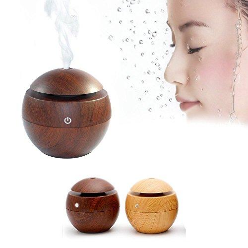 Kmise USB Cool Mist Humidifier Ultrasonic Aroma Essential Oil Diffuser 130ml Light Wood Grain For Office Home Bedroom Living Room Study Yoga Spa (Dark Wood Grain, 130 ml) by Kmise (Image #7)