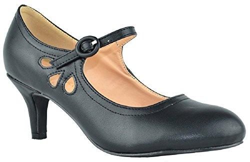(Chase & Chloe Kimmy-21 Women's Round Toe Pierced Mid Heel Mary Jane Style Dress Pumps (7 B(M) US, Black (Low Heel)))