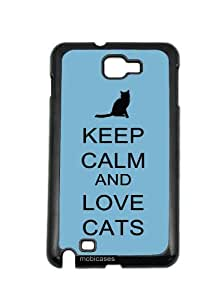 Keep Calm And Love Cats Aqua Samsung Galaxy Note 2 Note II N7100 Case Fits Samsung Galaxy Note 2 Note II N7100
