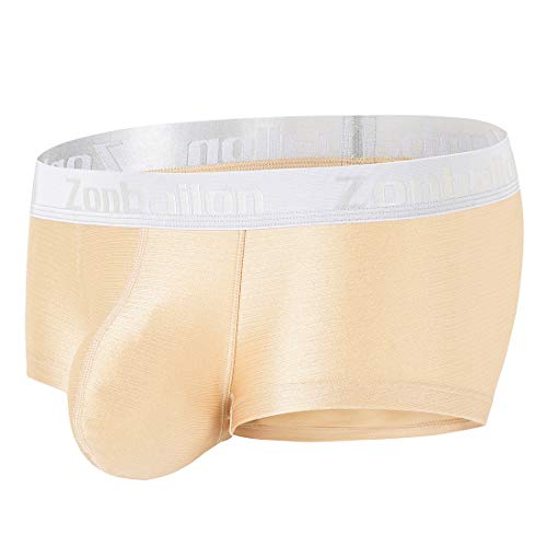 Mens Underwear Sexy Bulge Pouch Underpants Ice Boxer Briefs for Men Gold ()