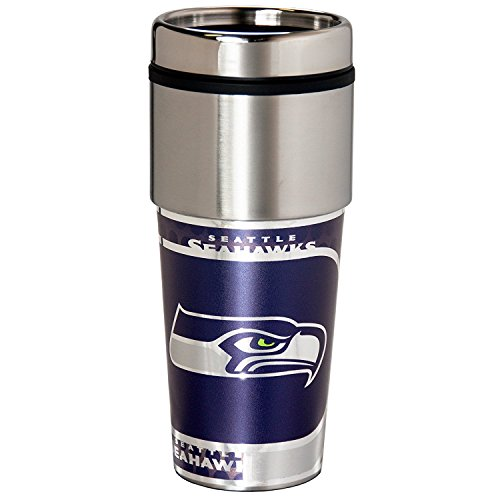 NFL Seattle Seahawks 16 oz. Stainless Steel Travel Tumbler with Metallic Graphics, Team Color
