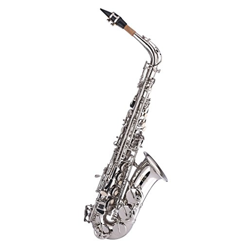 Kaizer Alto Saxophone E Flat Eb Nickel Silver 1000 Series Sax Includes Case Mouthpiece and Accessories ASAX-1000NK