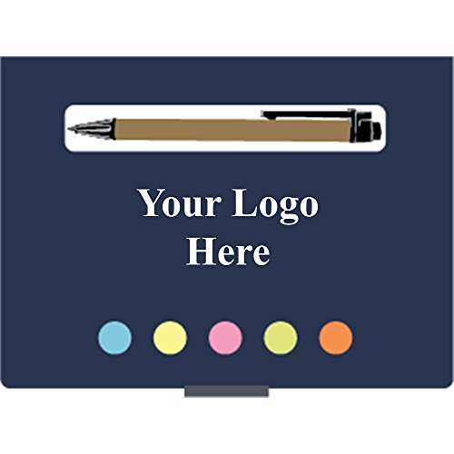 (Eco Stowaway Sticky Jotter With Pen with Black Ink - 125 Quantity - $1.65 Each - PROMOTIONAL PRODUCT/BULK/Branded with YOUR LOGO/CUSTOMIZED)
