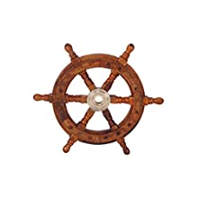 """The Urban Port Tup 12"""" Teak Wood Ship Wheel with Brass Inset and Six Spokes, Brown and Gold"""