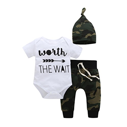 YIJIUJIU Newborn Boys 3 Piece Romper Outfits Baby Clothes Letter Arrow Bodysuit +Camouflage Army Designer Pants Set 0-6 Months