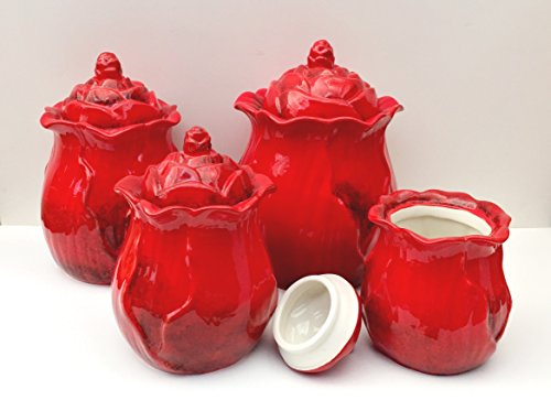 Tuscany Fleu De Lis Red Flower Collection Hand Painted 4-Piece Canister Set 10