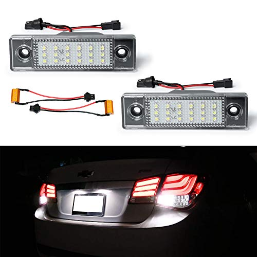 GemPro LED License Plate Light Assembly Replacement For 2009-2018 Chevrolet Cruze, Powered by 18SMD Xenon White LED Lights