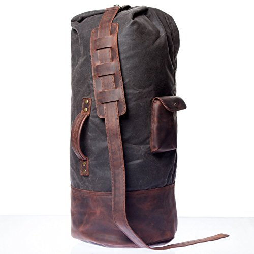 Classic Handmade Waxed Canvas Duffle Bag With Natural Leather Cover - High Quality Overnight Bag With Waterproof Lining For Men And Women - Old School Military Bag by Tram 21